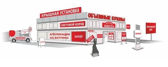 Рекламные вывески и конструкции для компаний, магазинов